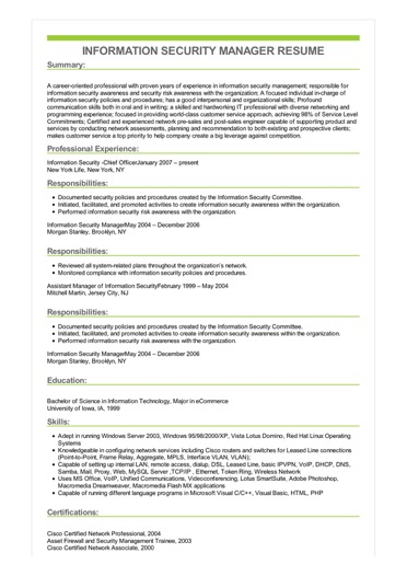 Sample Information Security Manager Resume