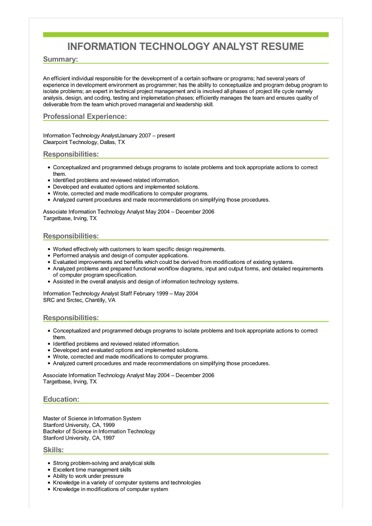 Sample Information Technology Analyst Resume