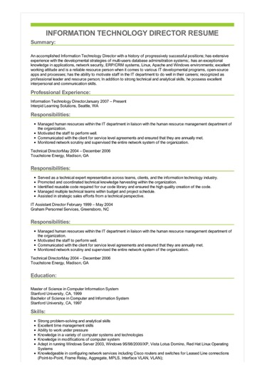 Sample Information Technology Director Resume
