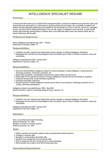 sample intelligence research specialist resume