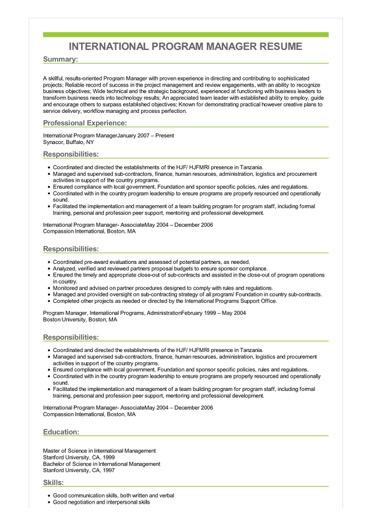 Sample International Program Manager Resume