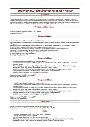 Sample Logistics Management Specialist Resume