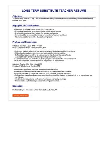 Long Term Substitute Teacher Resume Great Sample Resume