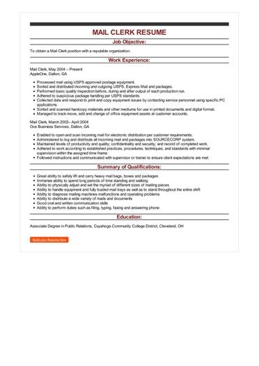 Sample Mail Clerk Resume