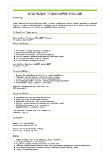 Sample Mainframe Programmer Resume