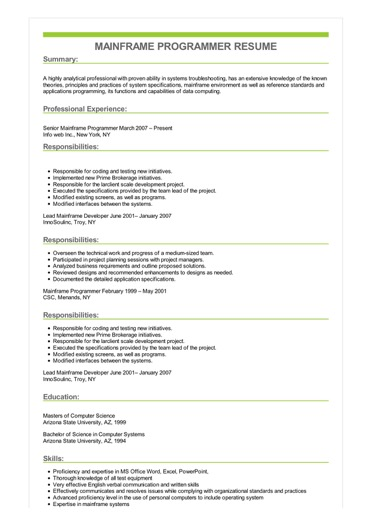mainframe experience resume sample