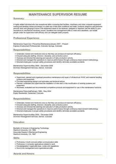 Sample Maintenance Supervisor Resume
