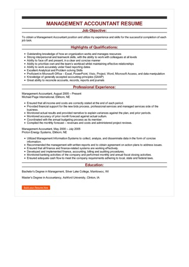 Sample Management Accountant Resume