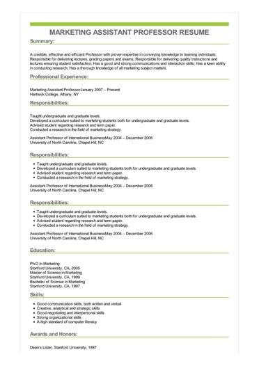 Sample Marketing Assistant Professor Resume