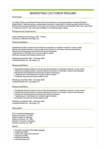 Sample Marketing Lecturer Resume