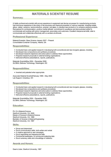 Sample Materials Scientist Resume