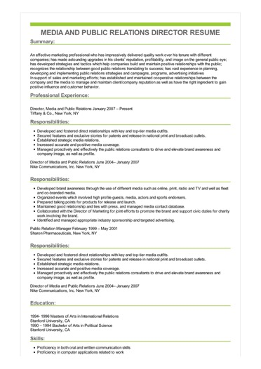 Sample Media And Public Relations Director Resume