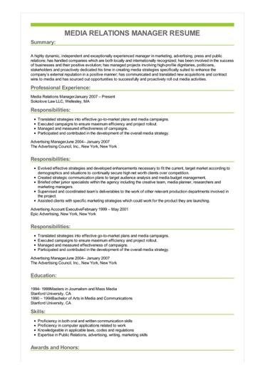 Sample Media Relations Manager Resume