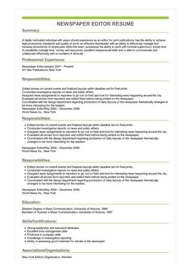 Sample Newspaper Editor Resume