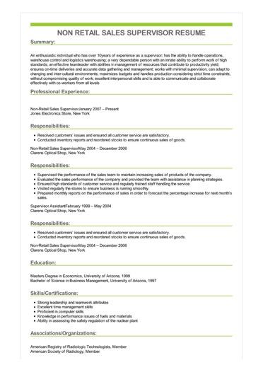 Sample Non Retail Sales Supervisor Resume
