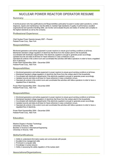 Sample Nuclear Power Reactor Operator Resume