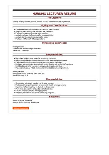 Sample Nursing Lecturer Resume