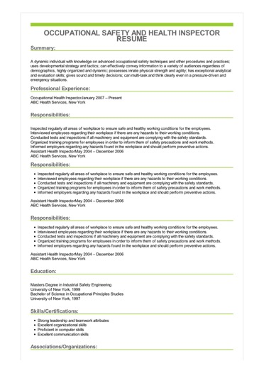 Sample Occupational Safety And Health Inspector Resume