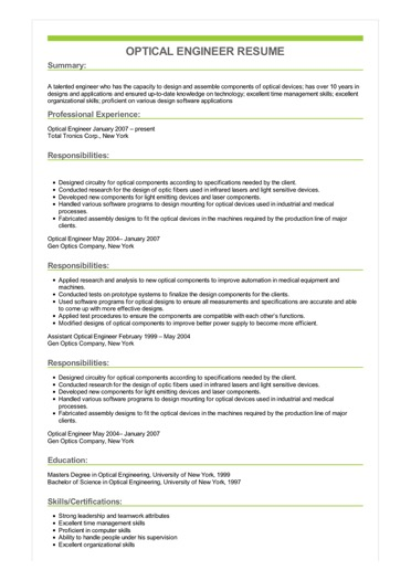 Sample Optical Engineer Resume