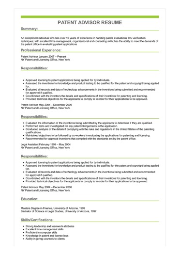 Sample Patent Advisor Resume