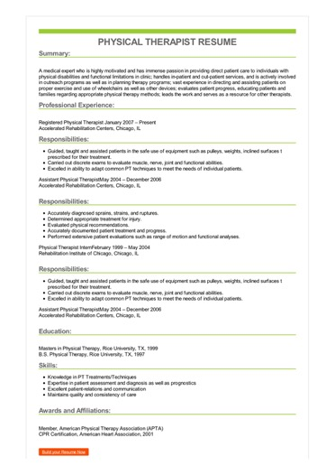 resume objective physical therapist sample