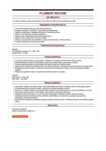 Sample Plumber Resume