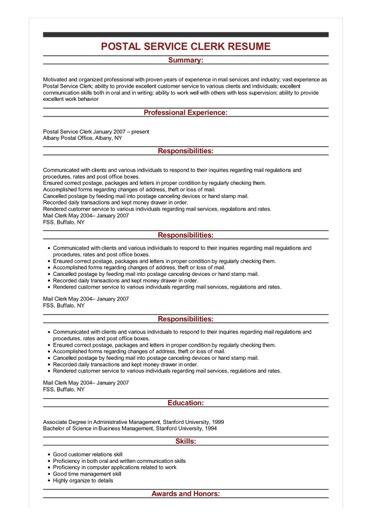 Sample Postal Service Clerk Resume