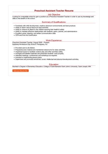 sample resume for child development lead teacher