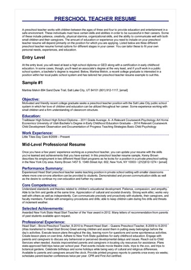 objective for resume early childhood education examples