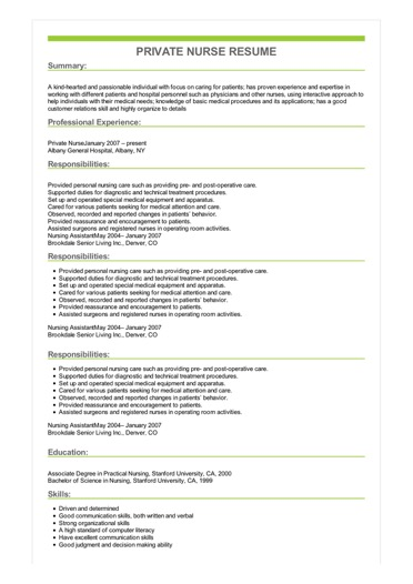 Sample Private Nurse Resume