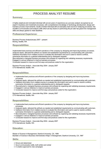 Sample Process Analyst Resume