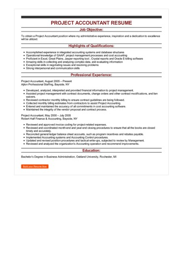 Sample Project Accountant Resume
