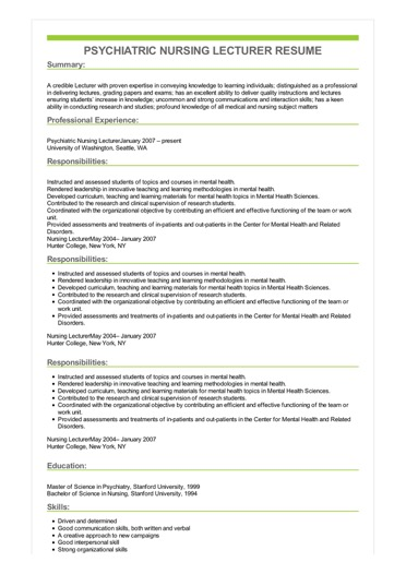 Sample Psychiatric Nursing Lecturer Resume