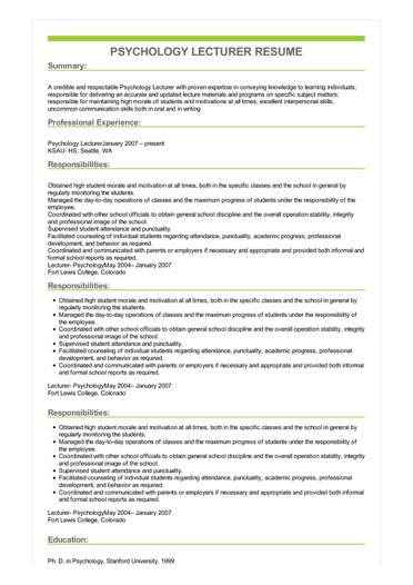 Sample Psychology Lecturer Resume