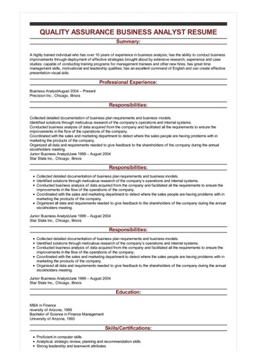 Sample Quality Assurance Business Analyst Resume