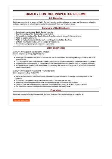 inspector resume examples