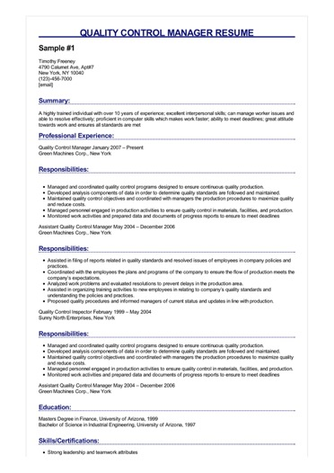 resume sample for quality control manager