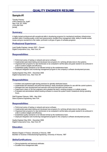 resume for quality engineer in mechanical engineering