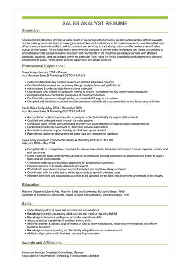 Sample Sales Analyst Resume