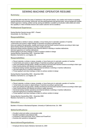 resume with activities