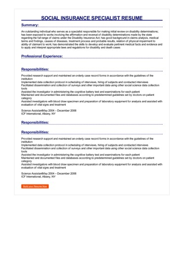 Sample Social Insurance Specialist Resume