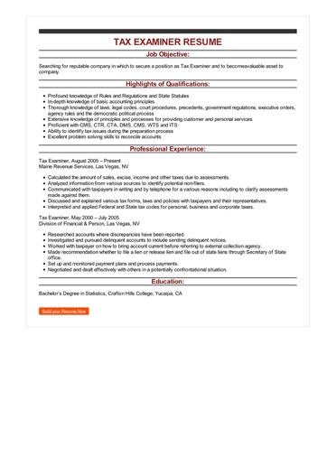 Sample Tax Examiner Resume