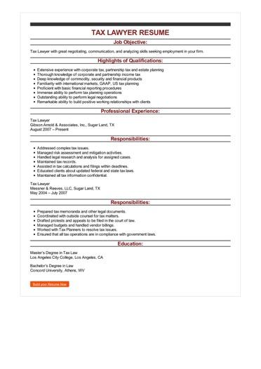 Sample Tax Lawyer Resume