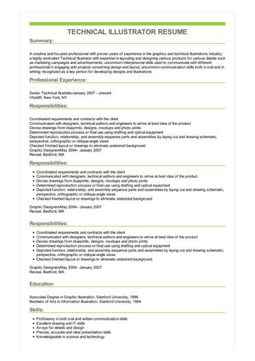 Sample Technical Illustrator Resume
