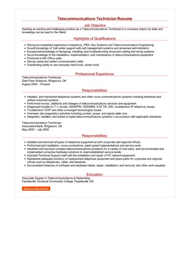 Telecommunications Technician Resume Great Sample Resume