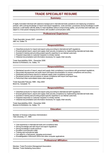 Sample Trade Specialist Resume