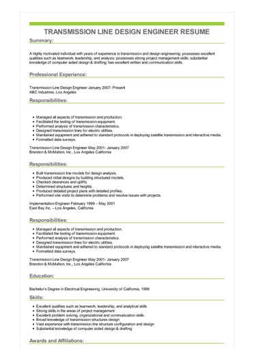 Sample Transmission Line Design Engineer Resume