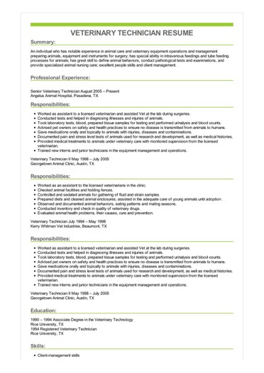 Sample Veterinary Technician Resume