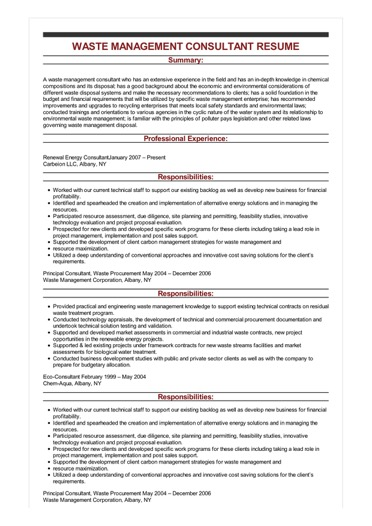 Sample Waste Management Consultant Resume