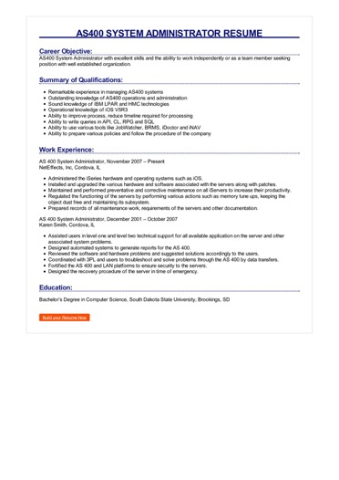 AS400 System Administrator Resume Great Sample Resume